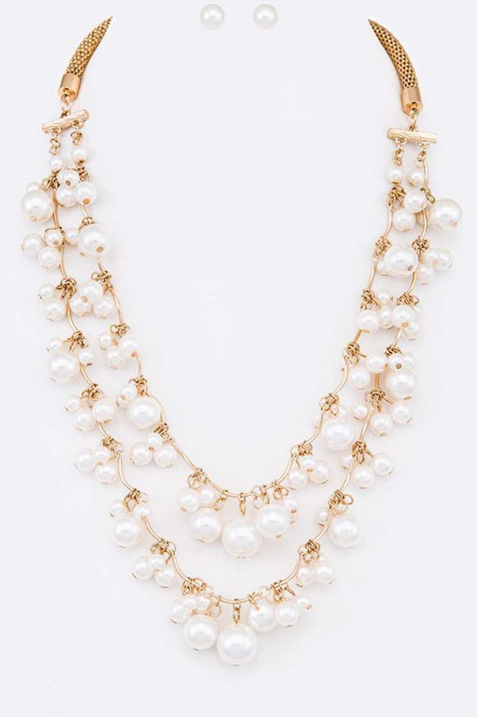 Telma Gold Fringe Pearls Layer Necklace Set
