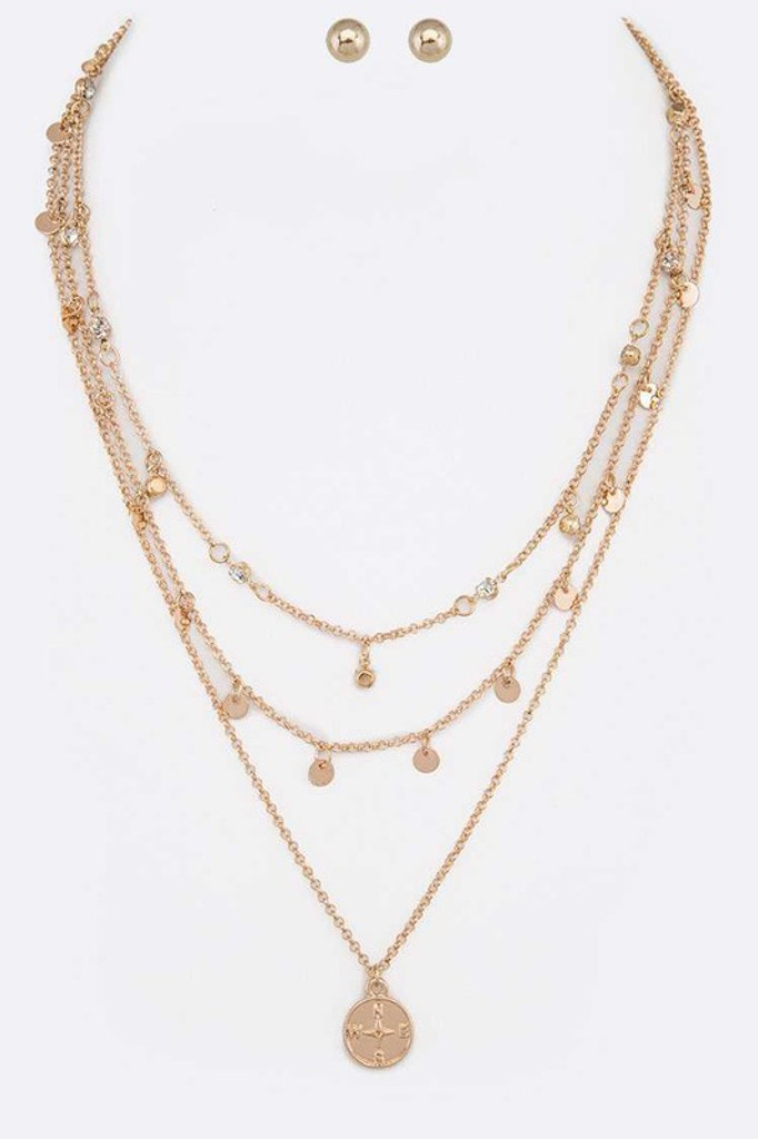 Jessica Gold Iconic Compass Pendant Layer Necklace Set