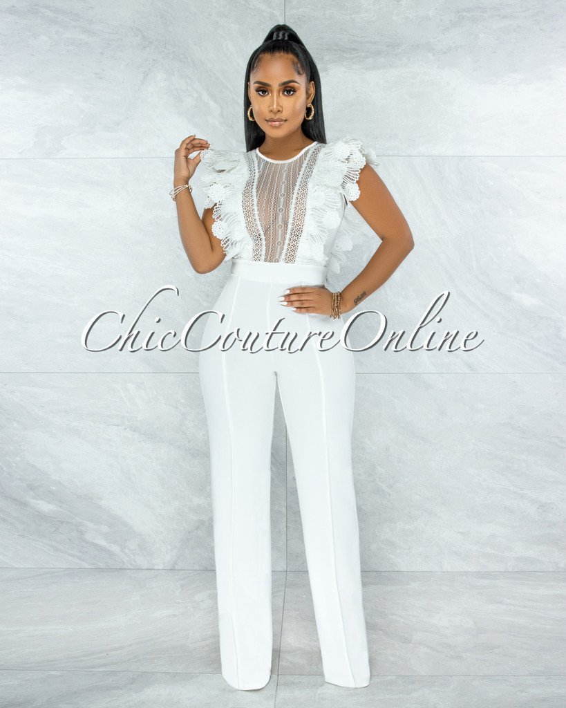 Caramelo Off-White Lace Sheer Top Crochet Jumpsuit
