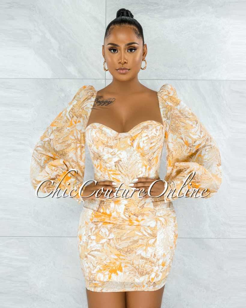 Flavian Yellow Floral Print Padded Cups Mini Dress