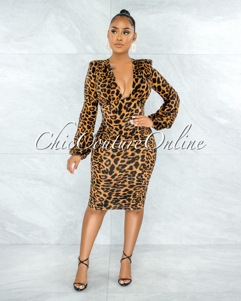 Haddeen Leopard Print Ruched Sides Deep-V Neckline Midi Dress