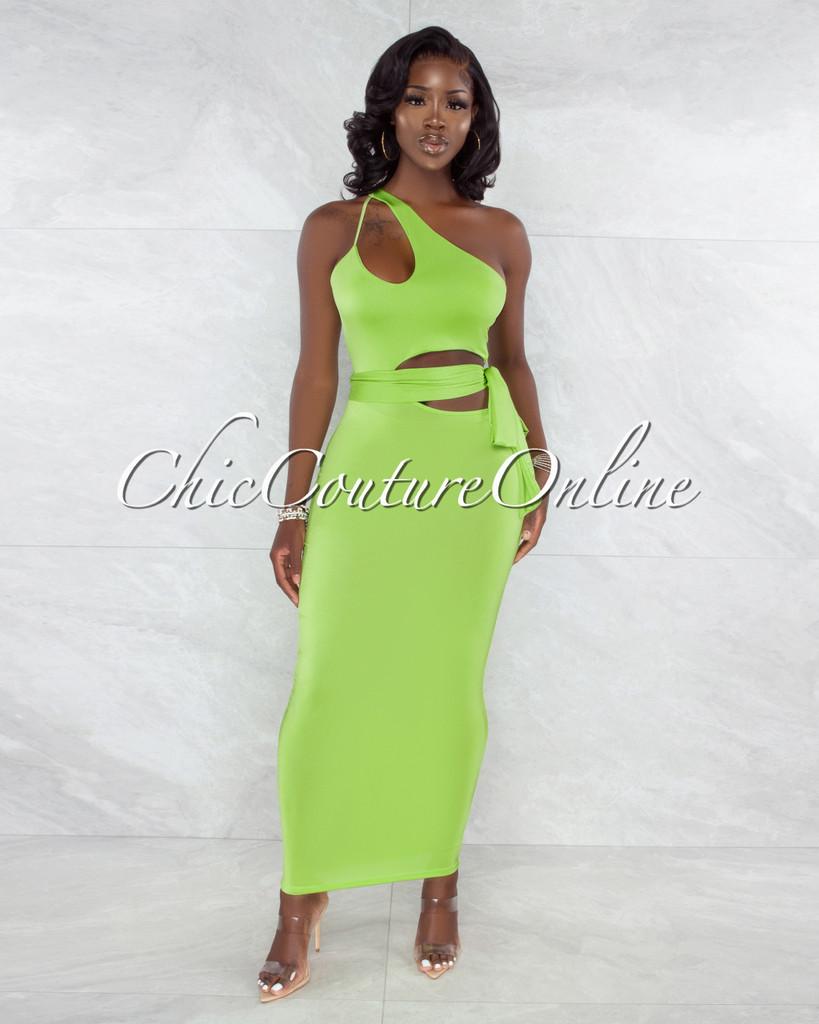 Dagwood Neon Green Double Key-Hole Self-Tie Maxi Dress