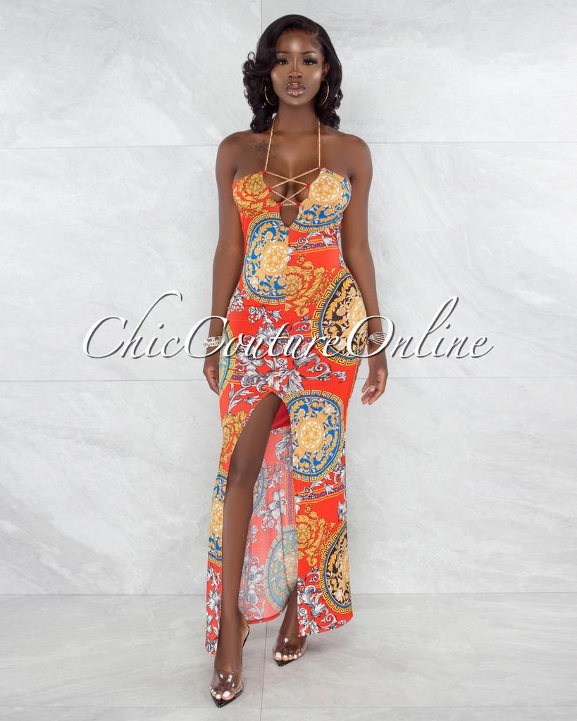 Odakota Red Gold Print Gold Chain Lace-Up Maxi Dress