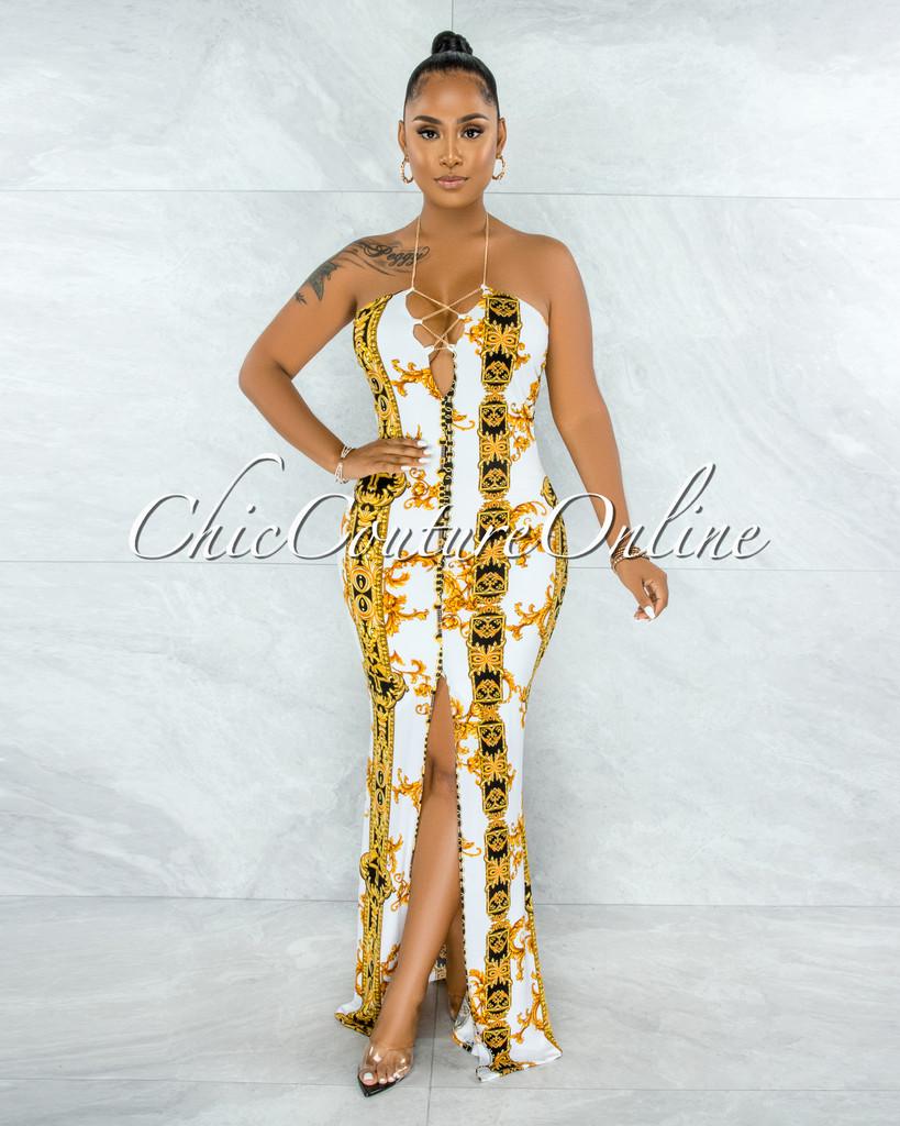 Odakota White Gold Print Gold Chain Lace-Up Maxi Dress