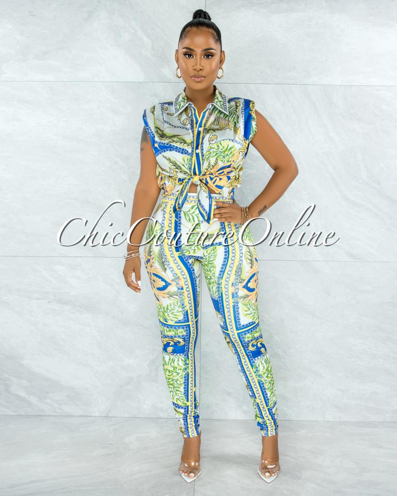 Sadzi Green Print Shoulder Pads Top & Leggings Set