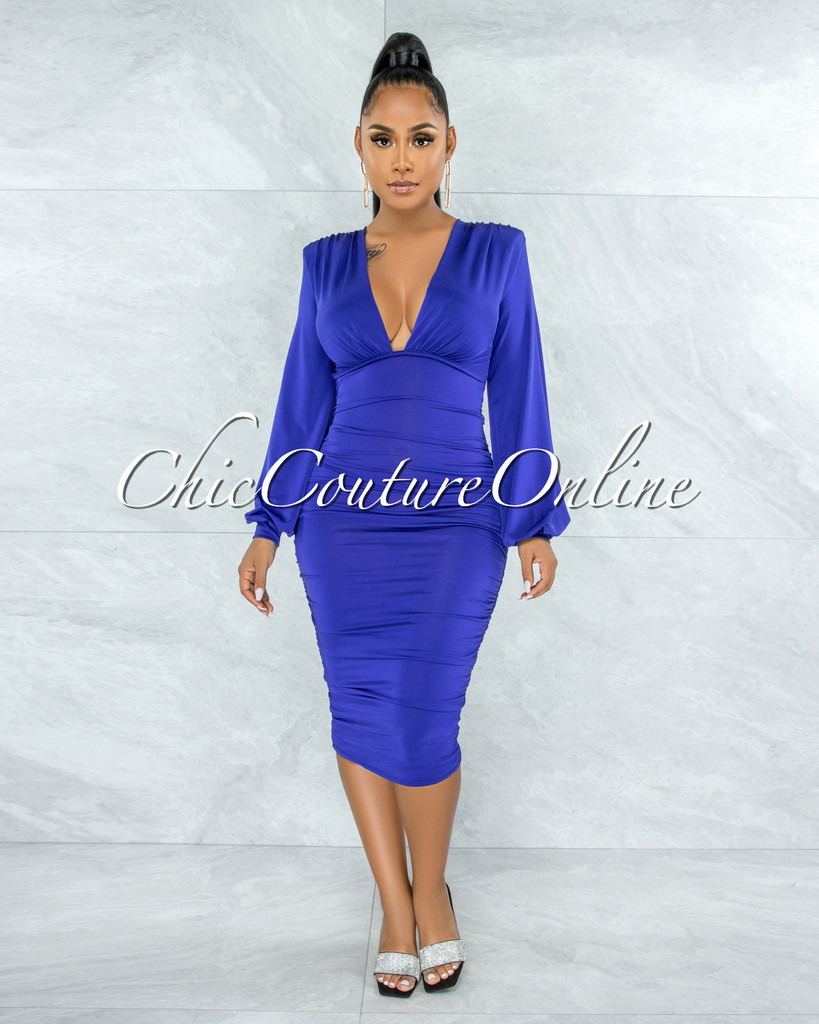 Tracy Berry Blue Ruched Sides Deep-V Neckline Midi Dress