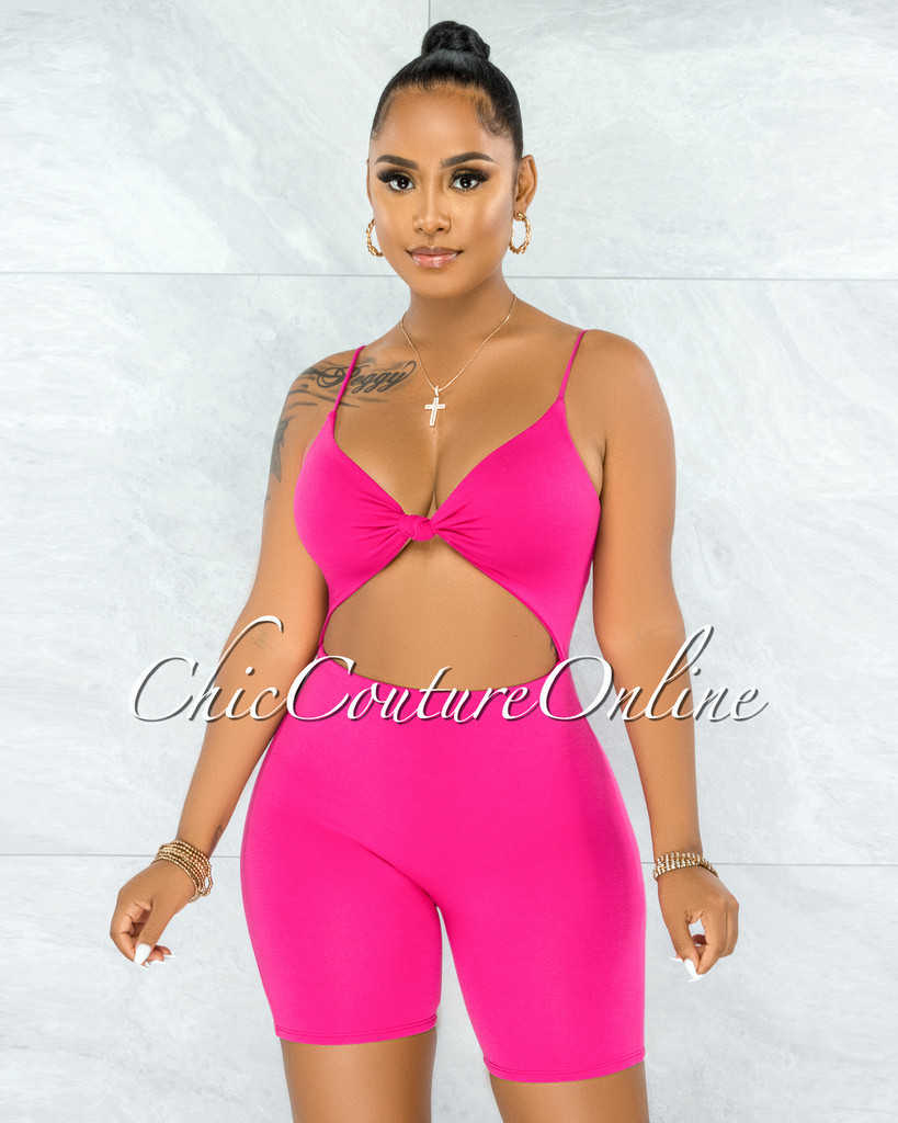 Richie Fuchsia Front Knot Cut-Out Double Lined Romper