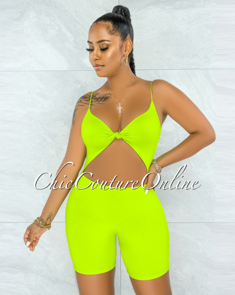 Richie Lime Green Front Knot Cut-Out Double Lined Romper