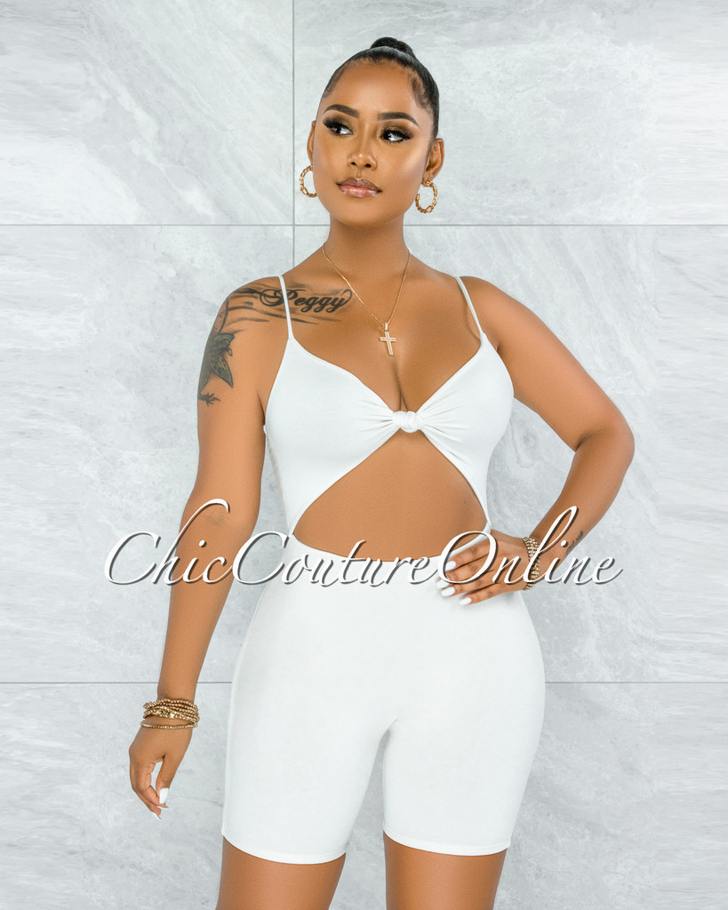 Richie Off-White Front Knot Cut-Out Double Lined Romper