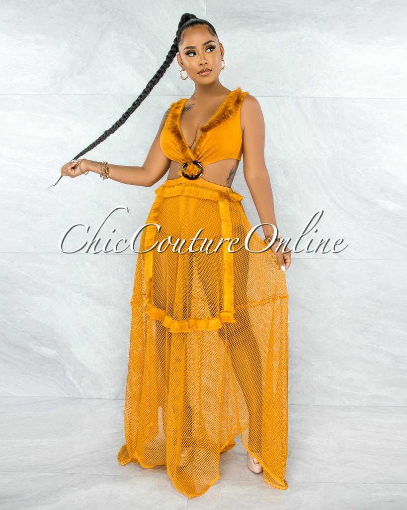 Shaliqa Mustard Net Brown O-Ring Maxi Bodysuit Dress