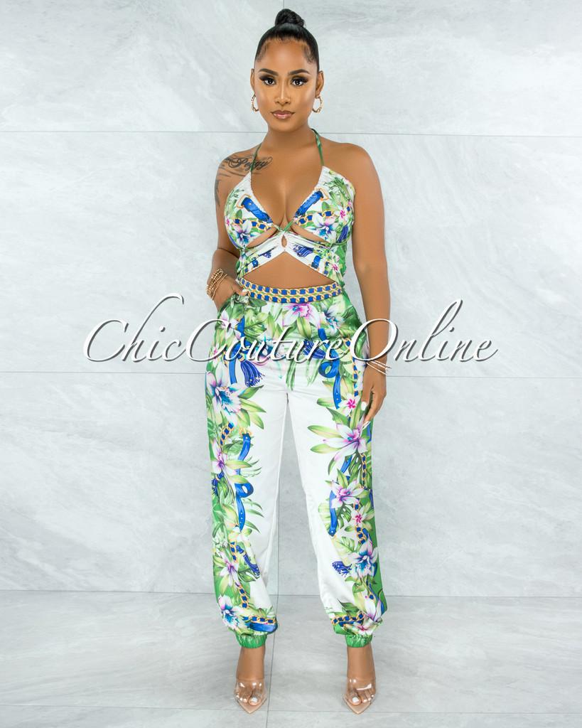 Valmai White Green Blue Print Satin Cut-Out Jumpsuit