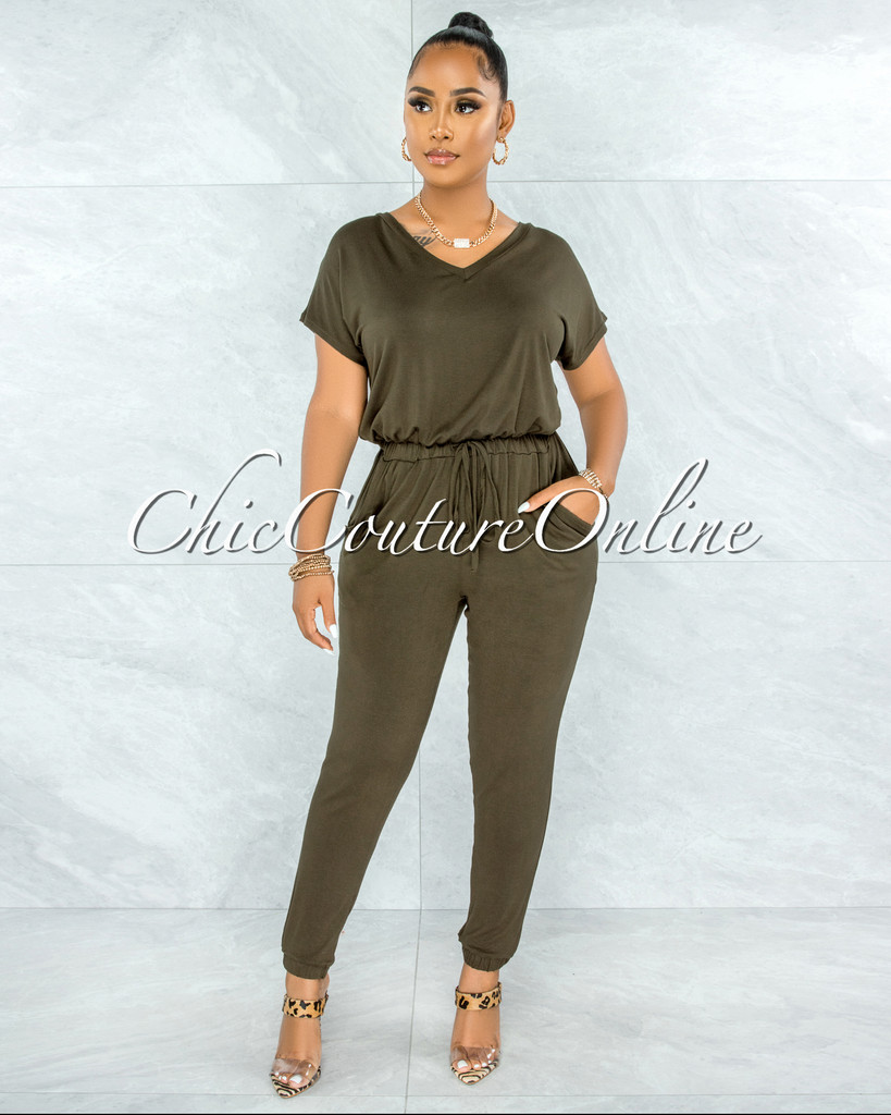 Wisal Olive Green Low V Utility Jumpsuit