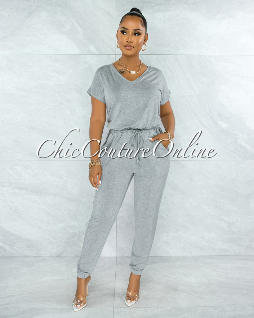 Wisal Gray Low V Utility Jumpsuit
