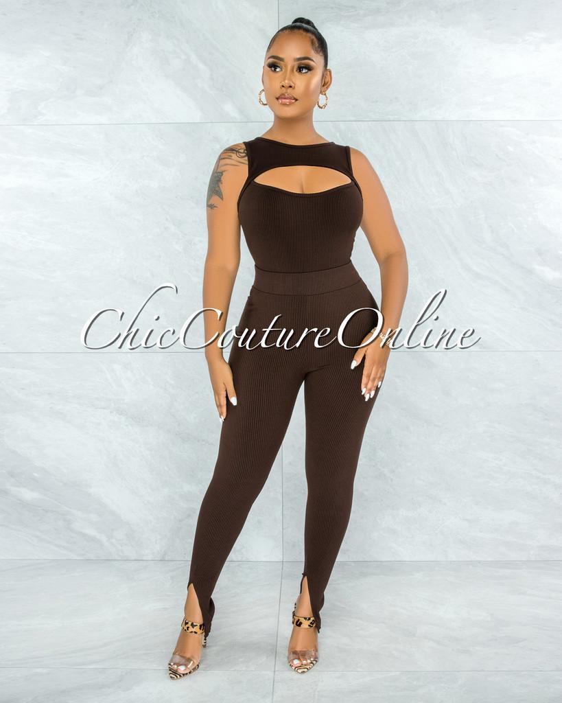 Winda Brown Cut-Out Bodysuit & Leggings Ribbed Set