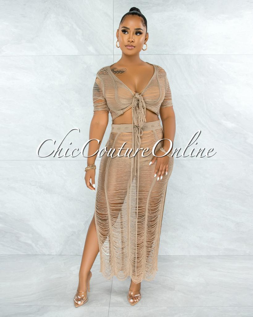 Bulat Mocha Crochet Cover-Up Maxi Skirt Set
