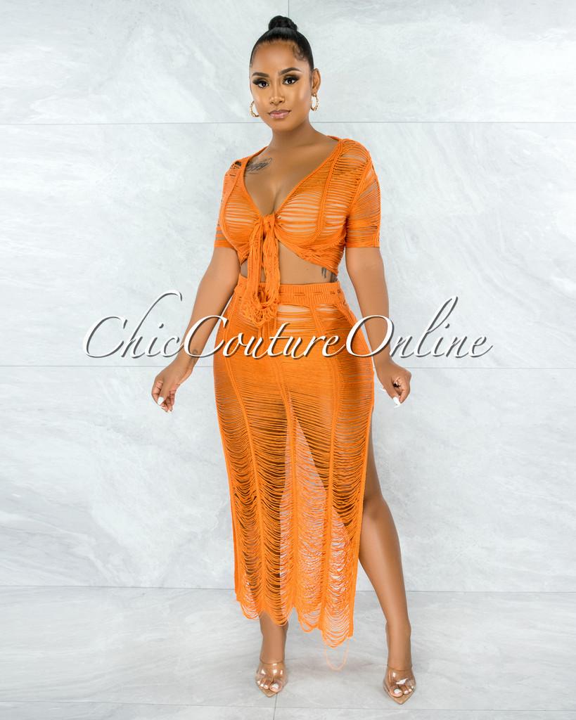 Bulat Orange Crochet Cover-Up Maxi Skirt Set