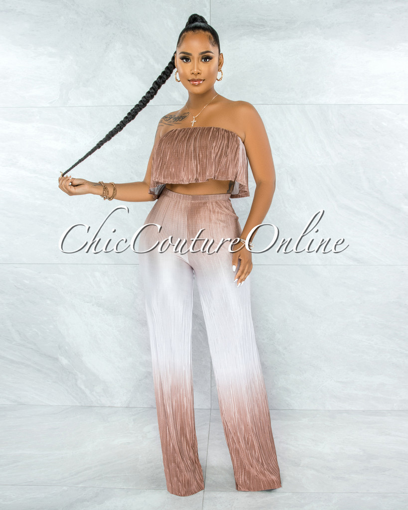Dymas Brown Ombre Ruffle Crop Top & Wide Pants Ribbed Set