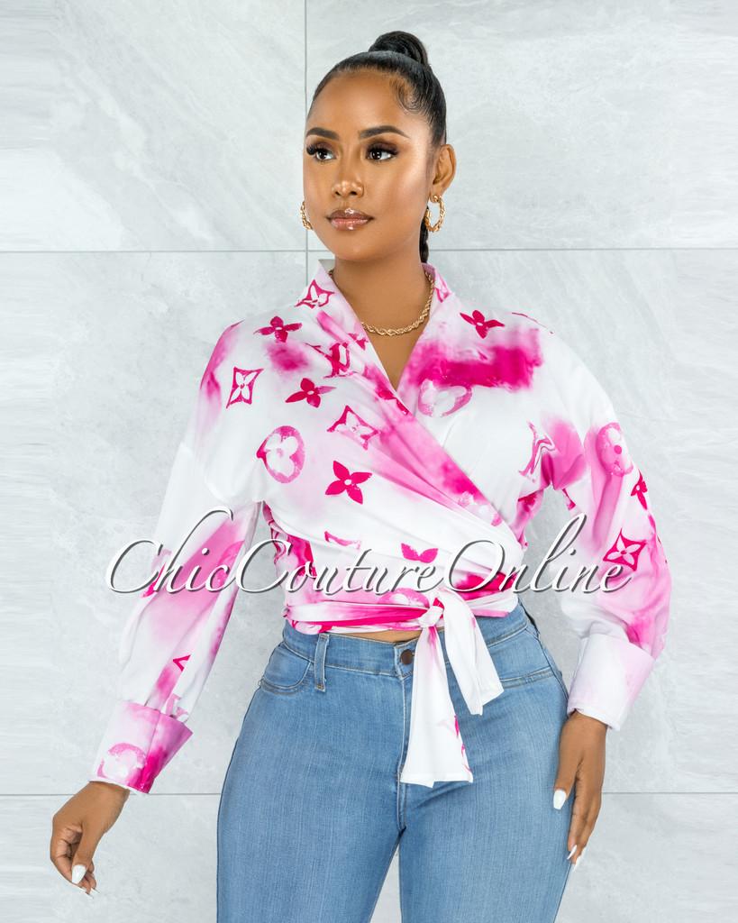 Santana White Fuchsia Print Front Tie Blouse
