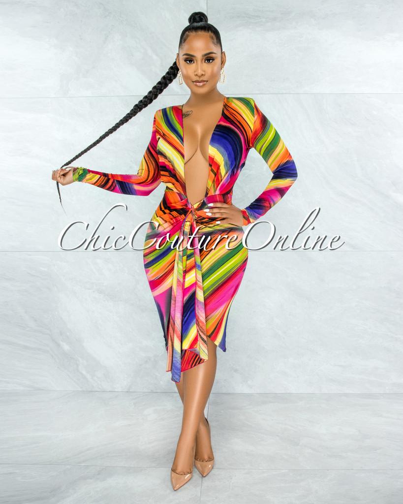 Riverson Orange Multi-Color Print Deep-V Front Tie Midi Dress