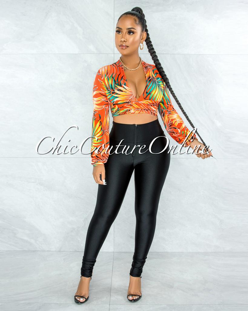 Lupita Orange Leaf Print Tie Top & Black Leggings Set