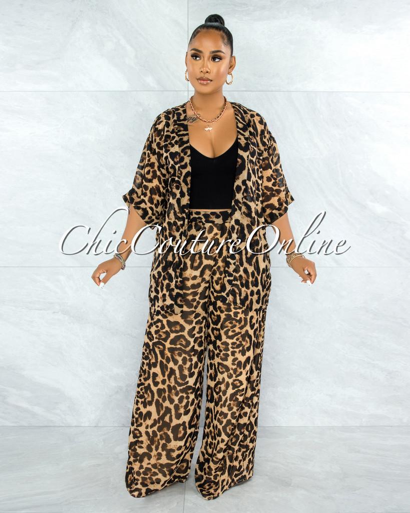 Manoucheka Leopard Print Duster & Pleated Pants Set