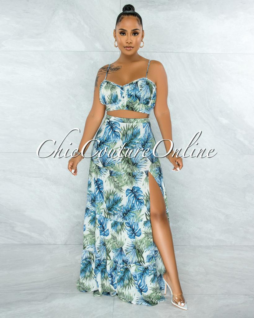 Precious Blue Green Leaf Print Crop Top & Maxi Skirt Set