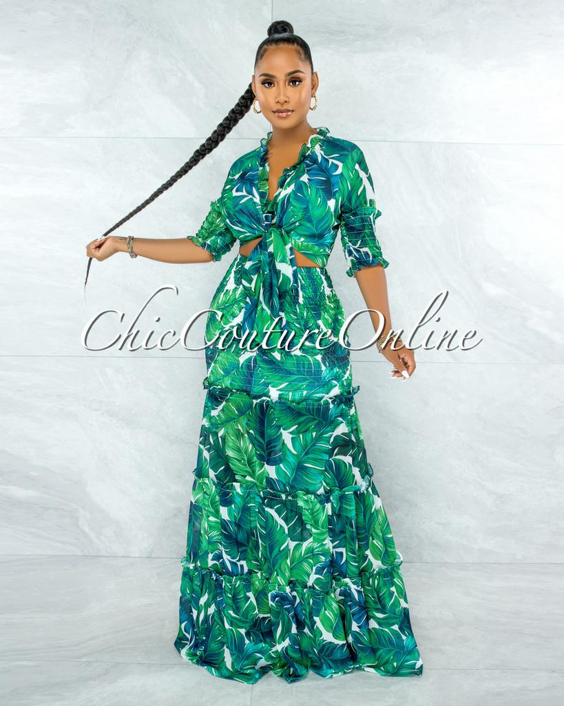 Clemons Green Leaf Print Smocked Two Piece Skirt Set