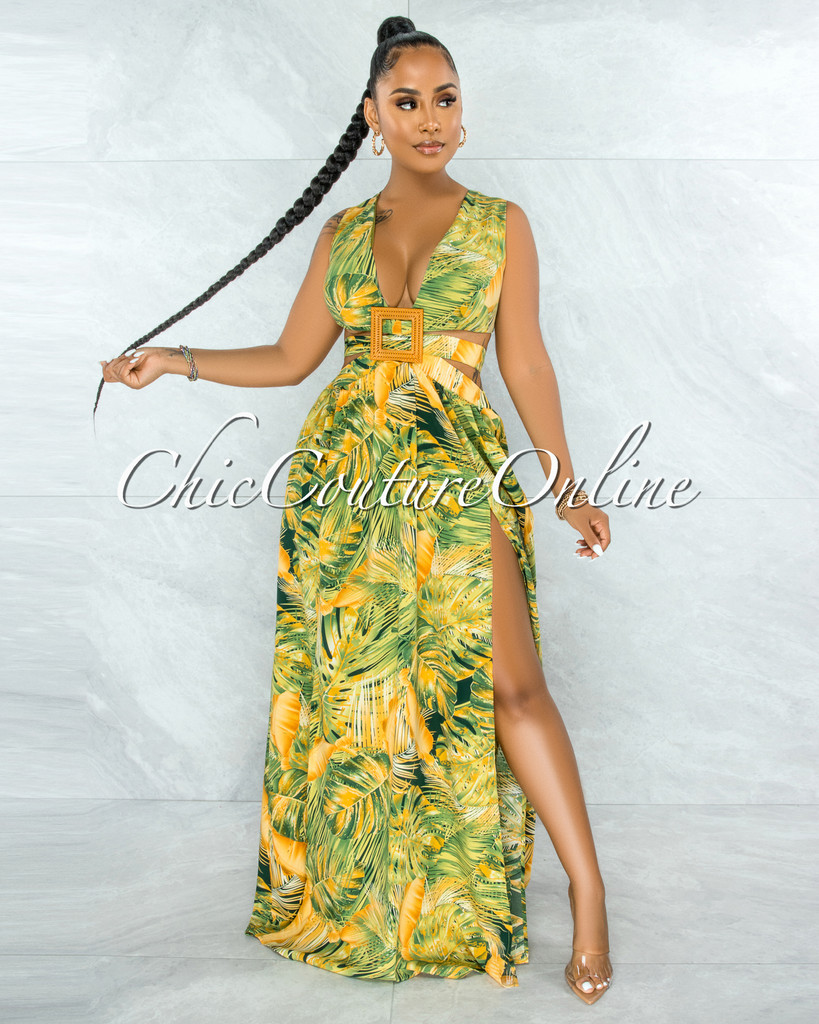 Ludovica Yellow Green Leaf Print Dramatic Wood Buckle Dress