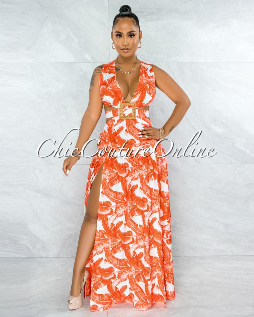 Azzura White Orange Leaf Print Dramatic Wood Buckle Dress