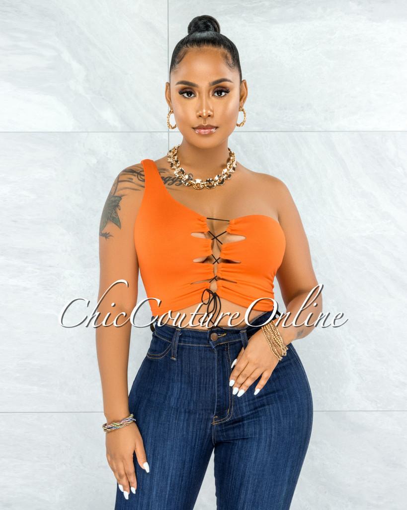 Hallie Orange Single Shoulder Lace-Up Front Crop Top