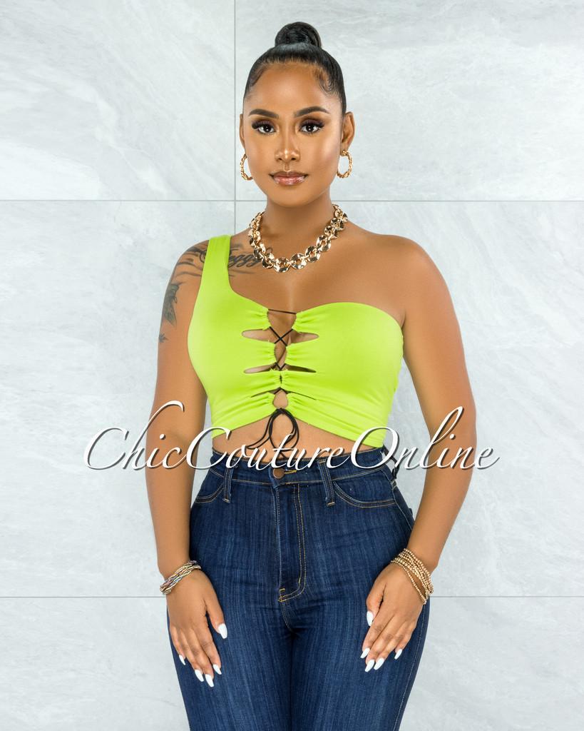 Hallie Lime Green Single Shoulder Lace-Up Front Crop Top