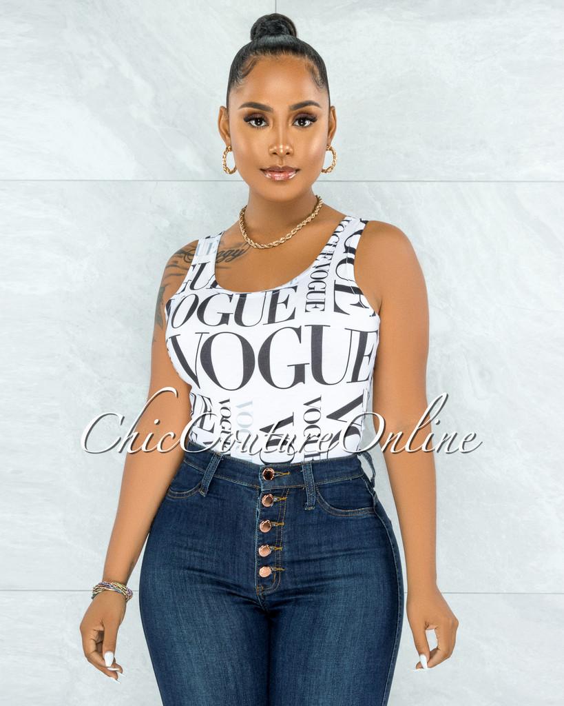 Khiana White Black 'VOGUE' Body-Con Bodysuit
