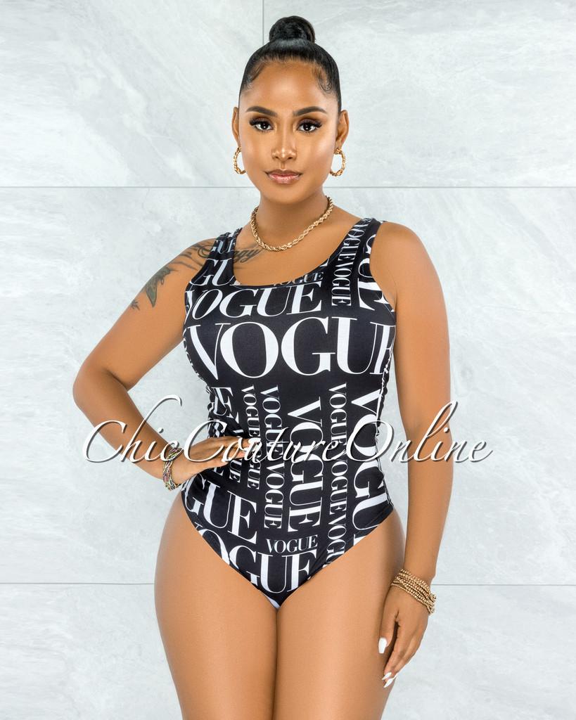 Khiana Black White 'VOGUE' Body-Con Bodysuit