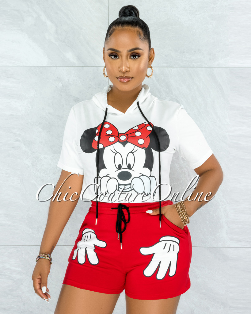 Minnie White Top & Red Shorts Graphic Set