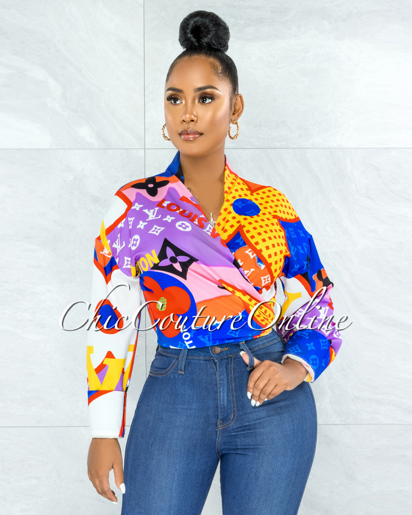 Santana Blue Red Yellow Print Front Tie Blouse