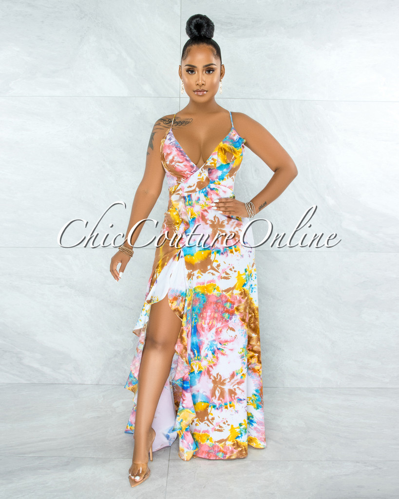 Urania Brown Multi-Color Tie-Dye Print Ruffle Maxi Dress