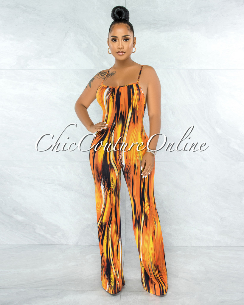 Aneilis Orange Black Print Low Back Jumpsuit