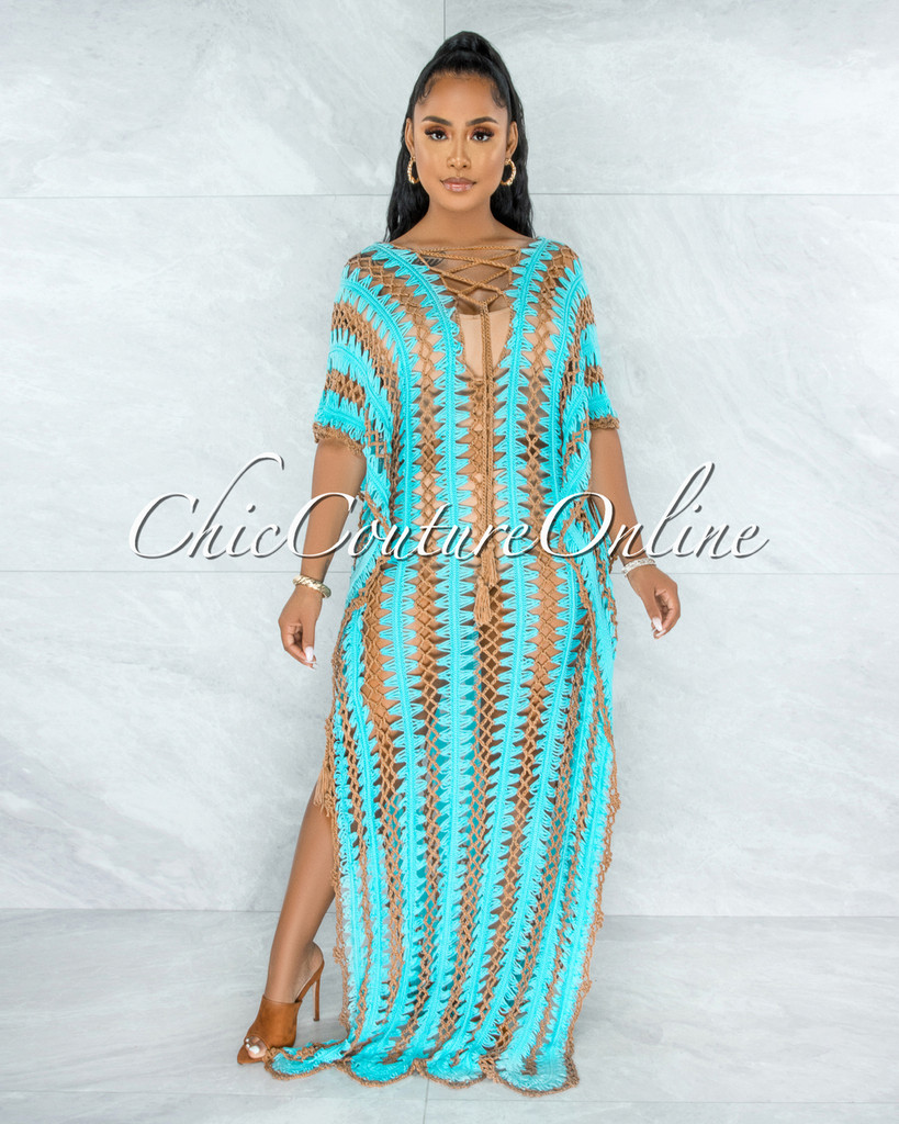 Cabo Turquoise Mocha Crochet Cover-Up Maxi CURVACEOUS Dress