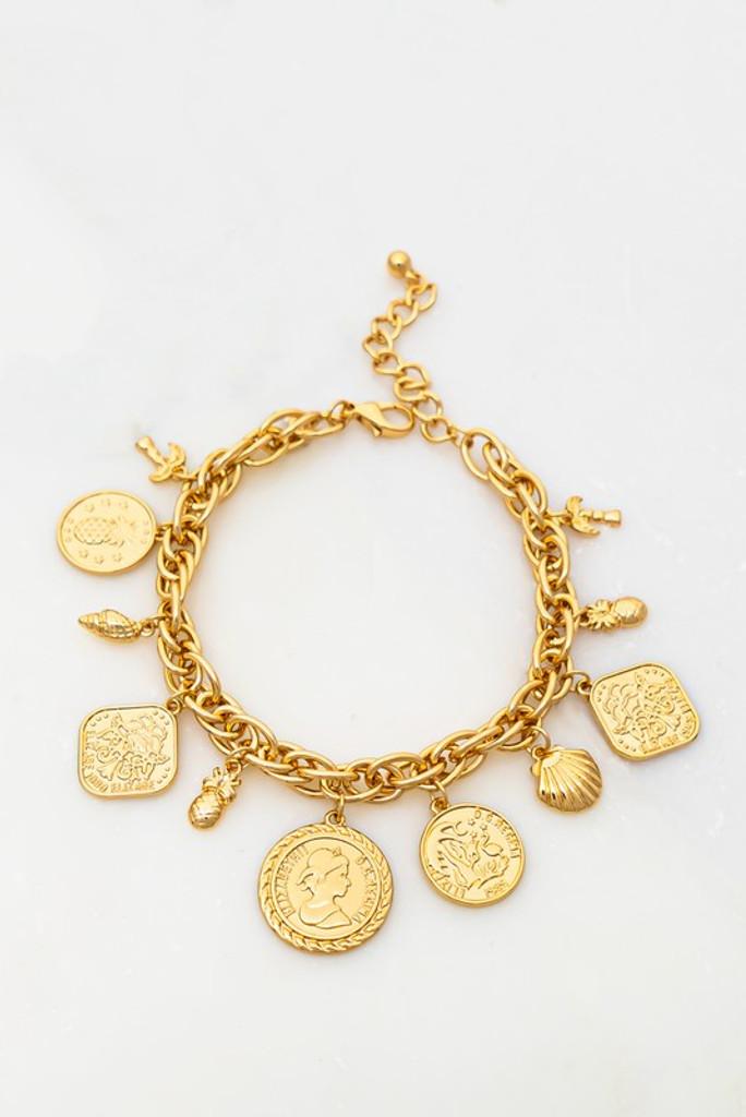 Jeanna Gold Coin Charm Bracelet