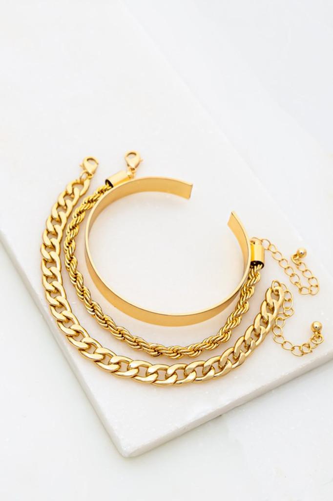 Lulu Gold Chain and cuff set