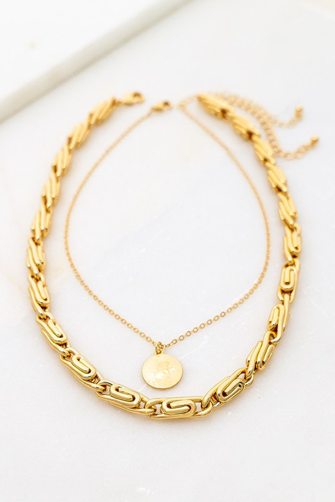 Arlene Gold Round Snail Chain & Coin Charm Necklace Set