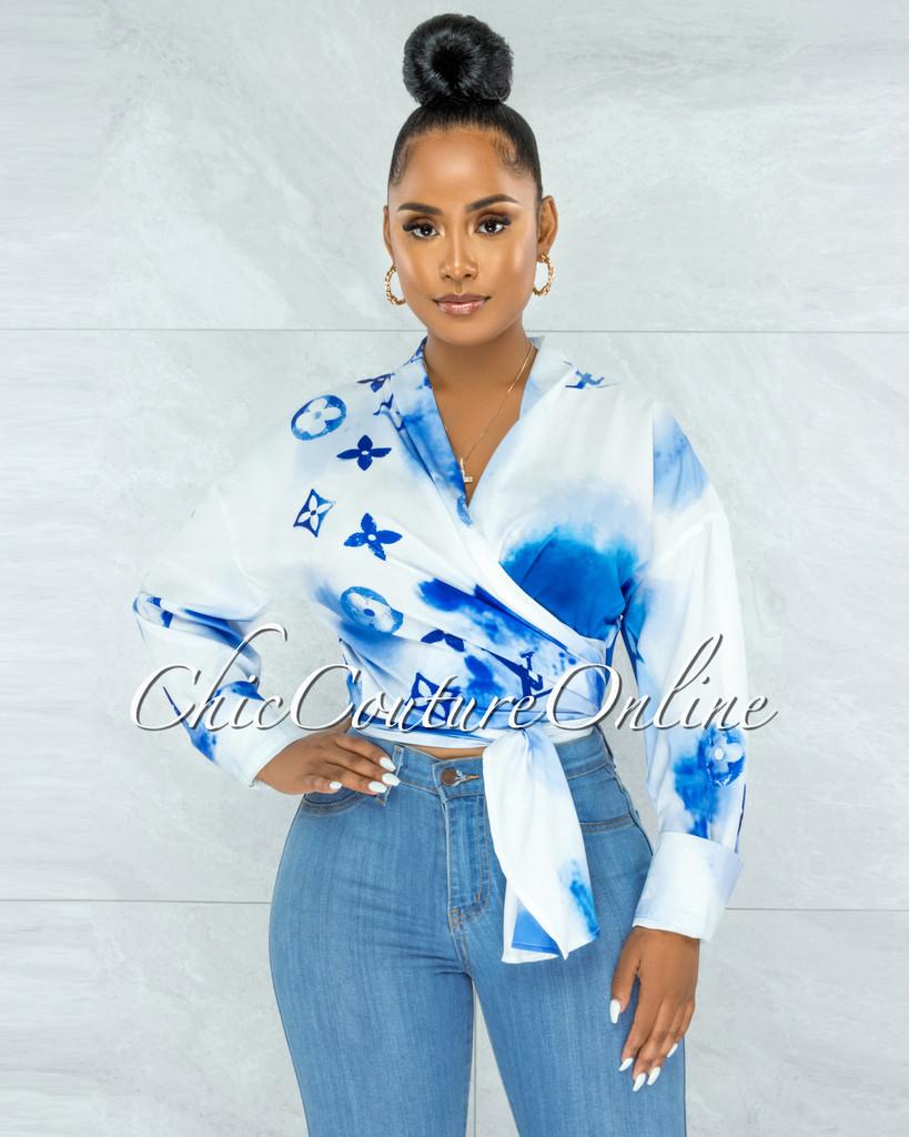 Santana White Blue Print Front Tie Blouse