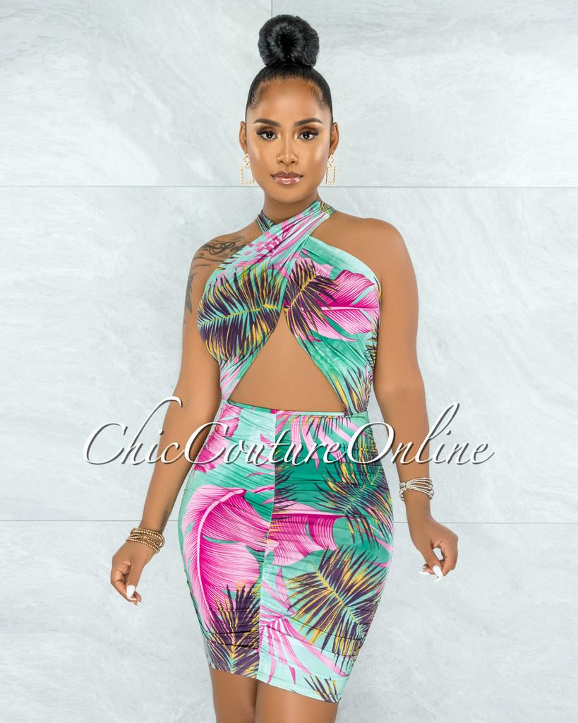 Wakana Jade Fuchsia Print Draped Crossed Neckline Dress