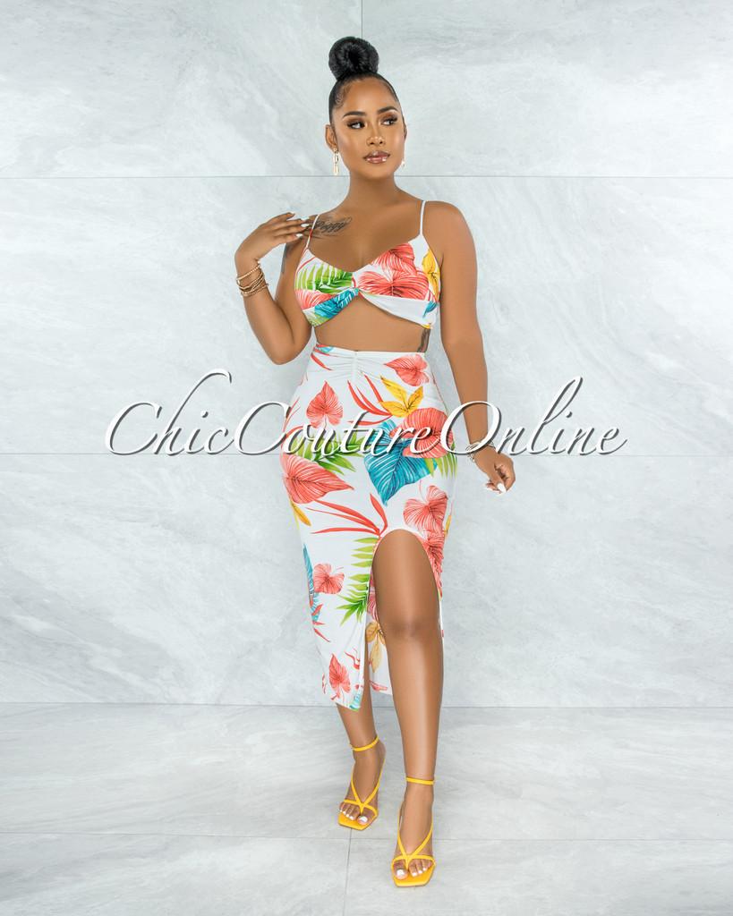 Alvern Ivory Multi-Color Tropical Print Crop Top & Skirt Set