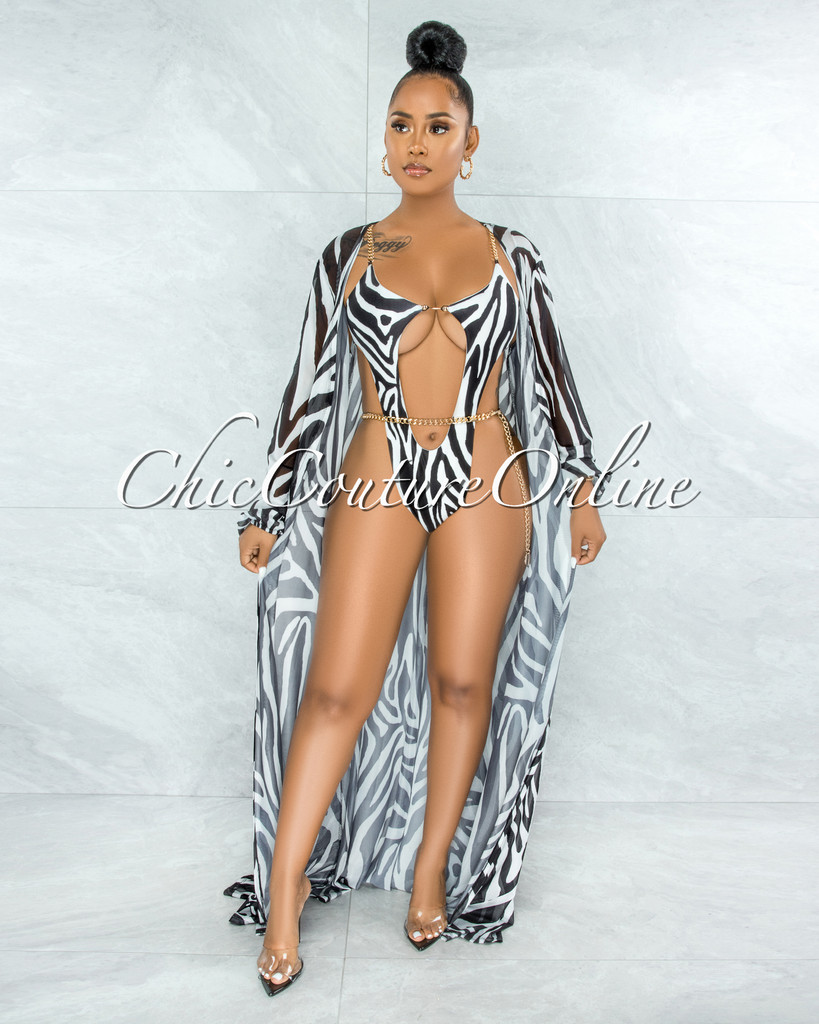 Alden Black White Zebra Print Gold Link Swimsuit Cover-up Set