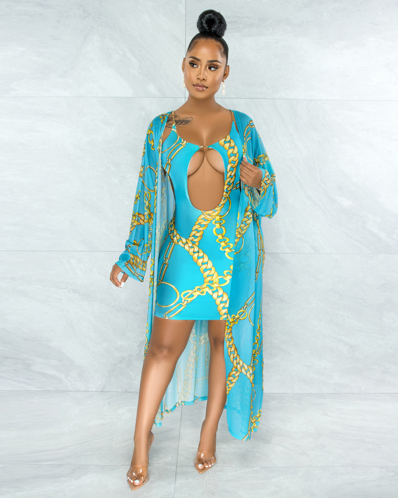 Elliot Turquoise Gold Chain Print Gold Link Dress & Cover-Up Set