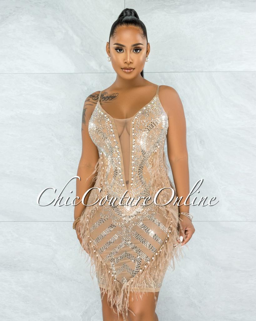 Denise Nude Mesh Pearls & Rhinestones Feathers Bodysuit Dress
