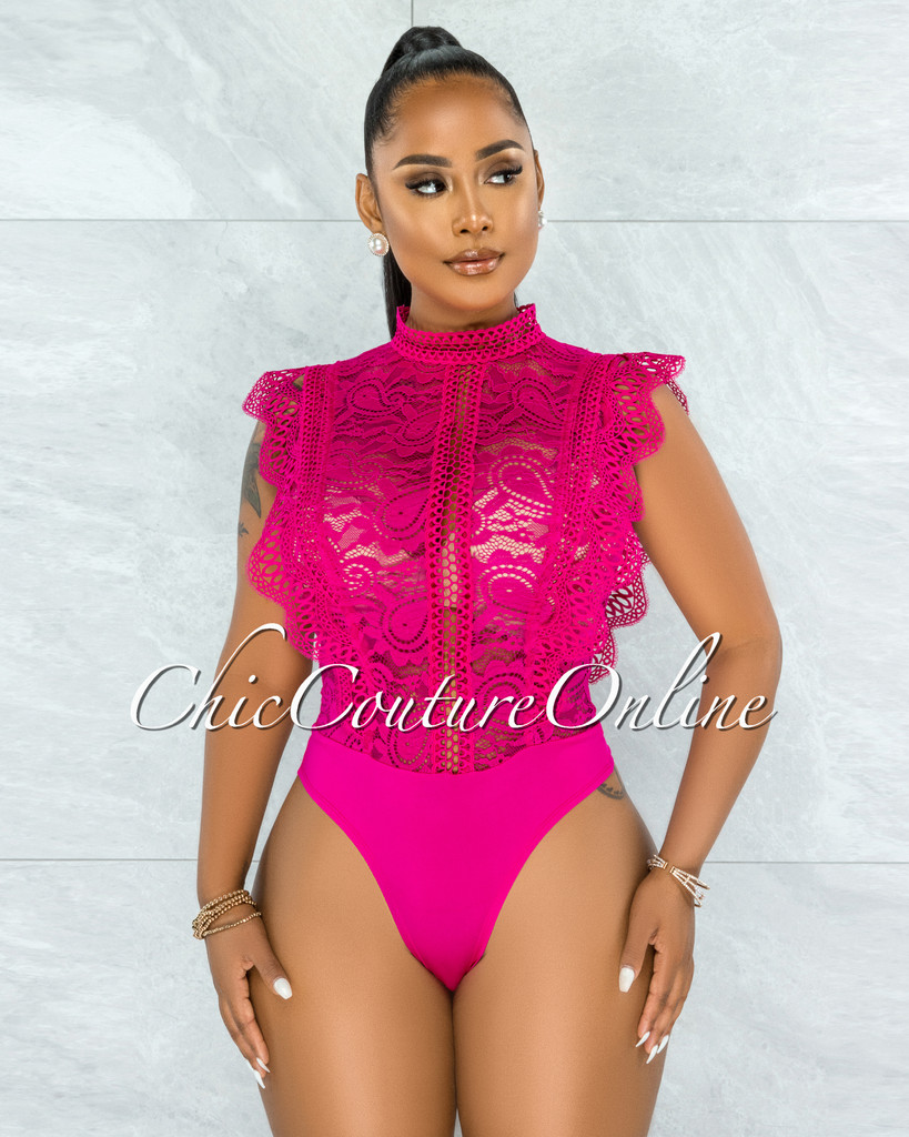 Dayra Hot Pink Lace See-Through Crochet Details Bodysuit