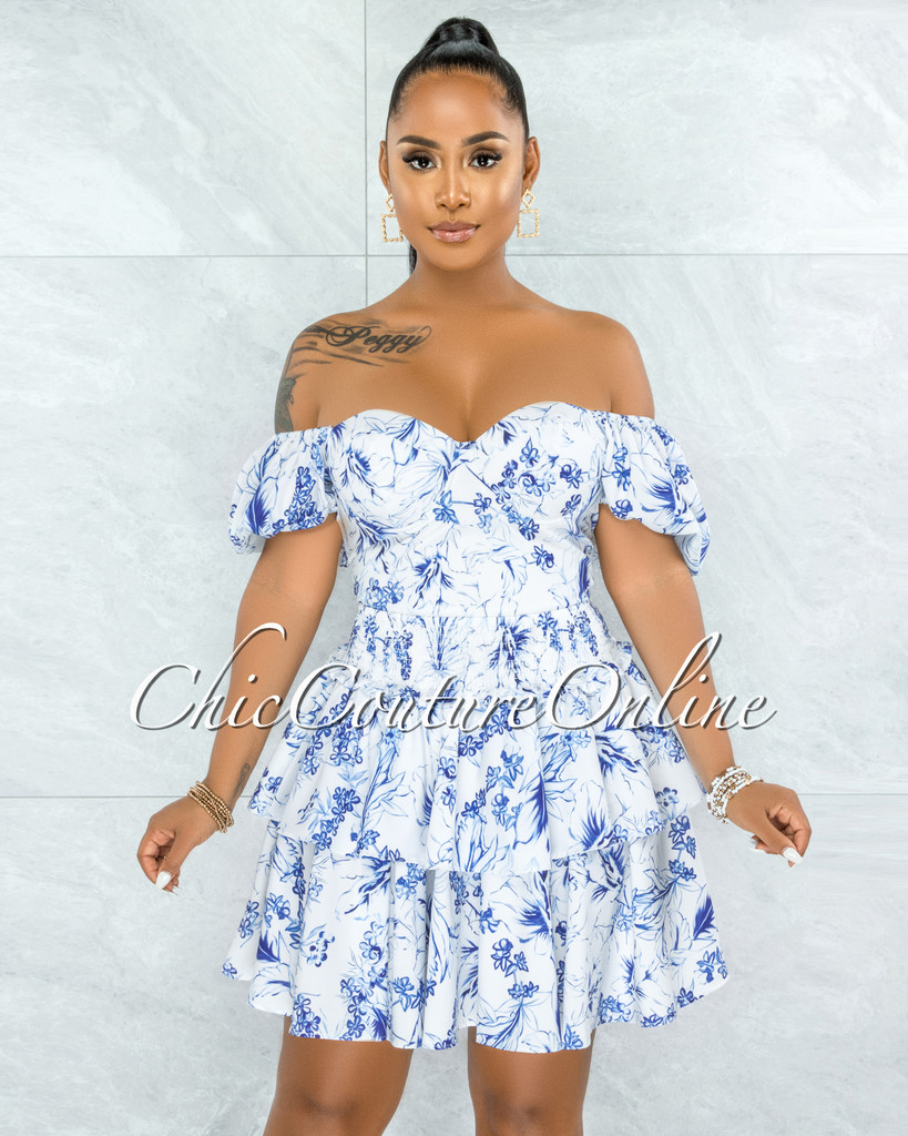 Galya White Blue Floral Print Ruffle Skirt Two Piece Set