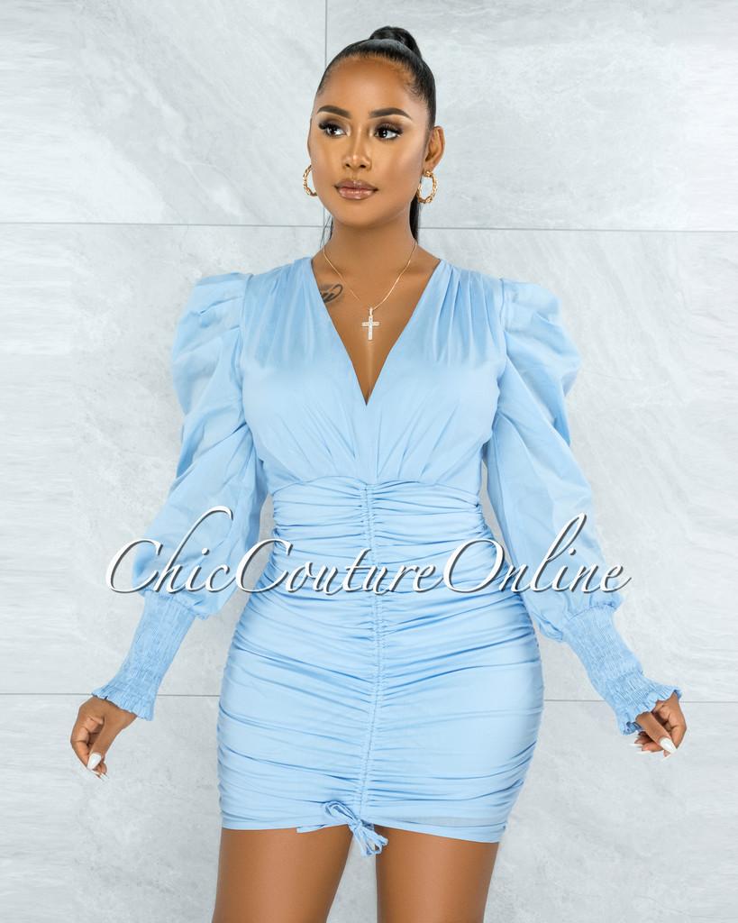 Letsey Baby Blue Draped Deep-V Neckline Midi Dress